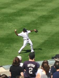 Severino warming up during Jorge Posada Day